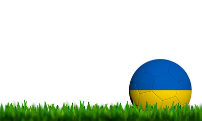 3D Football Ukraine Flag Patter in green grass on white backgrou