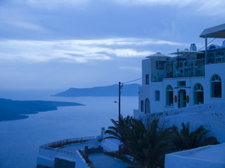 Twilight View of the Caldera Santorini Greece