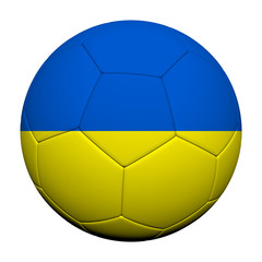 Ukraine Flag Pattern 3d rendering of a soccer ball