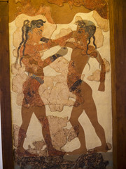 4000 years old Boxing Boys Fresco in Santorini Greece