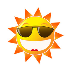 Cartoon sun in sunglasses on white background. Summer time.
