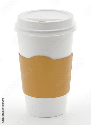 Paper coffee cup with safety cardboard collar on white