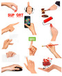 Set of hands holding different business objects. Vector