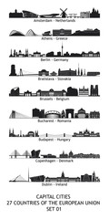 skylines of the capital cities of the european union - set 01