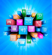 Abstract technology background with colorful icons. Vector.