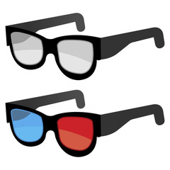 3D glasses isolated over white background