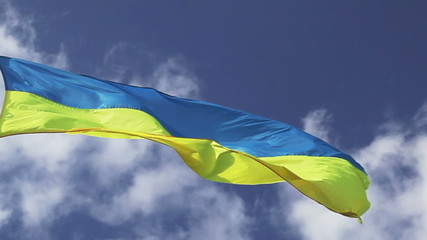 Ukrainian flag waving on cloudy pattern
