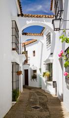 Urokliwa uliczka z białymi domami Andaluzja