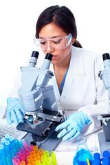 Scientific woman working in laboratory.
