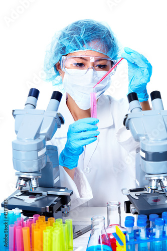 Scientific woman working in laboratory.