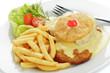 Leinwanddruck Bild - Schweineschnitzel Hawaii, Pommes frites