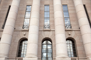 Parliament House, columns frontal detail. Helsinki, Finland