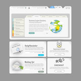 Website  template  menu elements with icons: Image slider