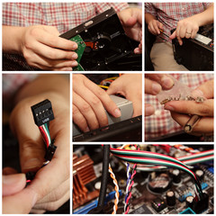 Collage of Technician Repairing a Computer
