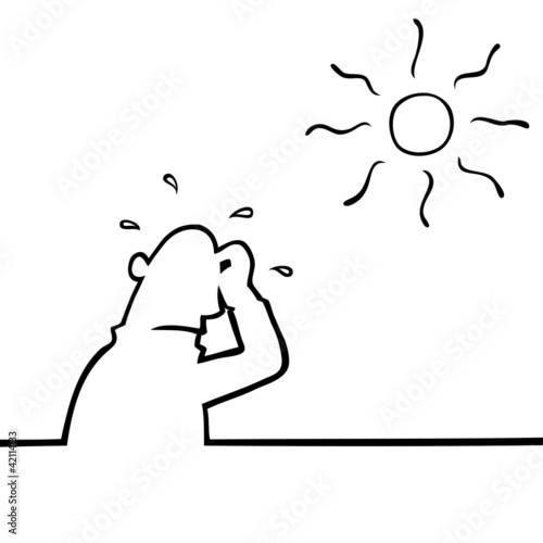 Man beneath a hot sun sweating profusely.
