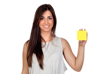 Atractive girl with a yellow post-it