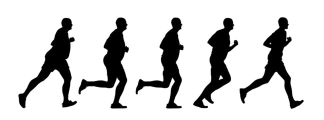 Silhouette running person at first full in the end of the thin