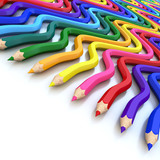 Fototapety Abstract background line of colour pencil as rainbow illustratio