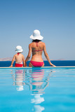 mother with  daughter on resort