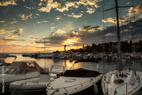 Cruise boats in Adriatic sea with sunset light