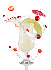 Cocktail drink with milk splash around on white background