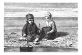 Kids looking at small boat on water surface, vintage engraving. poster