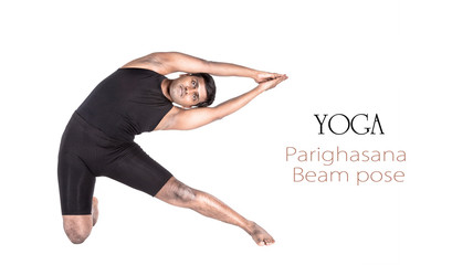 Yoga parighasana beam pose
