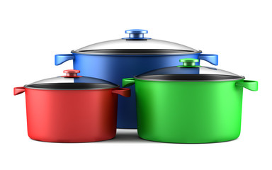 three color cooking pans isolated on white background