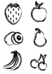 Sketch style fruit icons