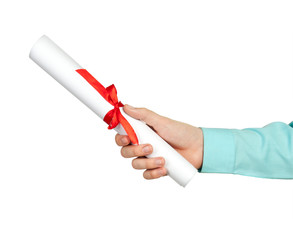 Diploma with a red ribbon in hand on white background