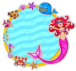 Frame with sea creatures and a mermaid wearing sunglasses