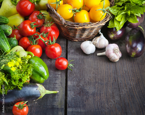 canvas print picture FARM FRESH vegetables and fruits