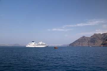 Cruise ship in the Caldera at Santorini Greece