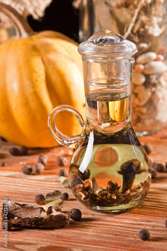 Bottle of cloves in oil