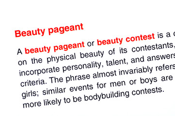 Beauty pageant text highlighted in red