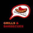 Grill sticker on fiery background.