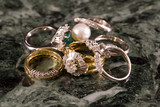 Rings with precious stones of marble