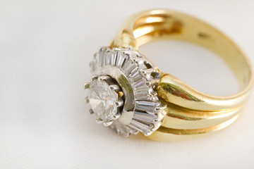 Ring with diamonds on a white background