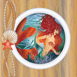 Beautiful mermaid in porthole. vector illustration