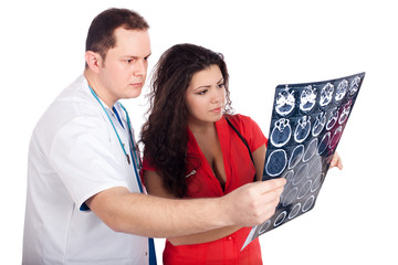 Doctors interpreting computed tomography (CT)