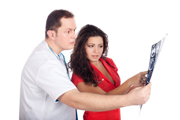 Doctors interpreting computed tomography (CT)