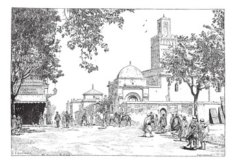 Street of the Great Mosque, Tlemcen, Algeria, vintage engraving.