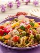 cold mixed pasta salad with tuna