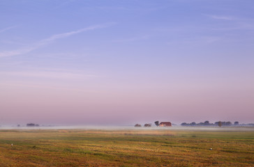 Dutch farm at sunrise