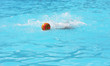 water polo ball splashed in swimming pool