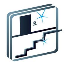 Treppenhaus Hausflur Reinigung Gebäudereiniger Piktogramm