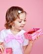 Girl opening present box