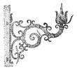 Italian torchiere, vintage engraving.
