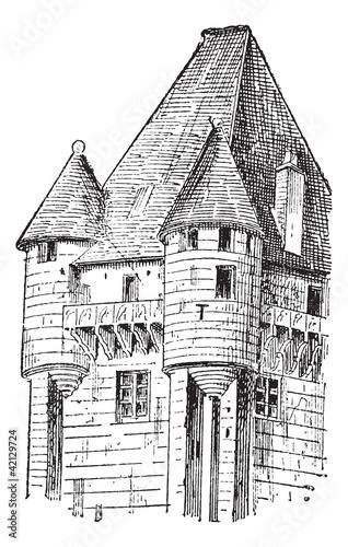 Turrets, vintage engraving.
