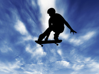 Silhouette *** SKATEBOARDER jump